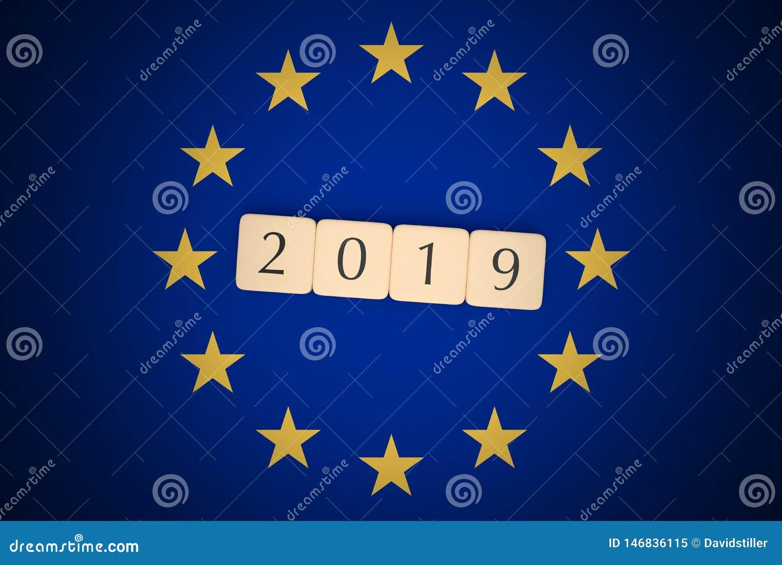 Letter Tiles 2019 With EU Flag, 3d illustration