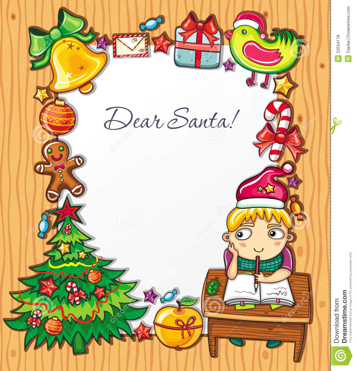 ... Santa hat, writing a letter to Santa . Letter to Santa background can
