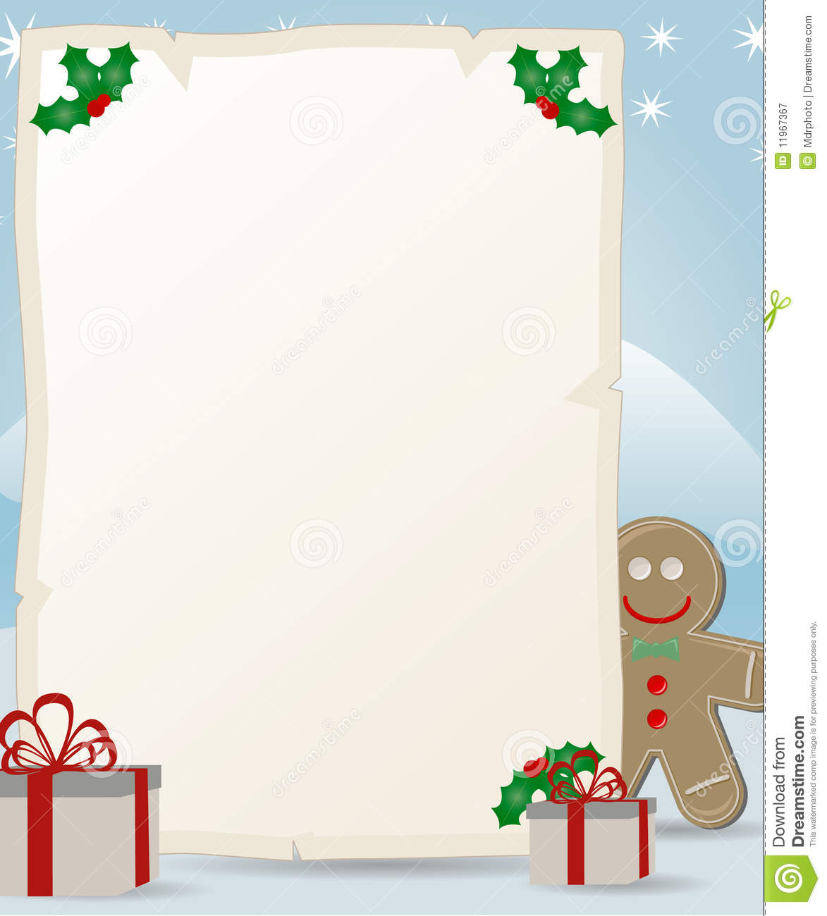 Letter To Santa Claus With Gingerbread Man Royalty Free