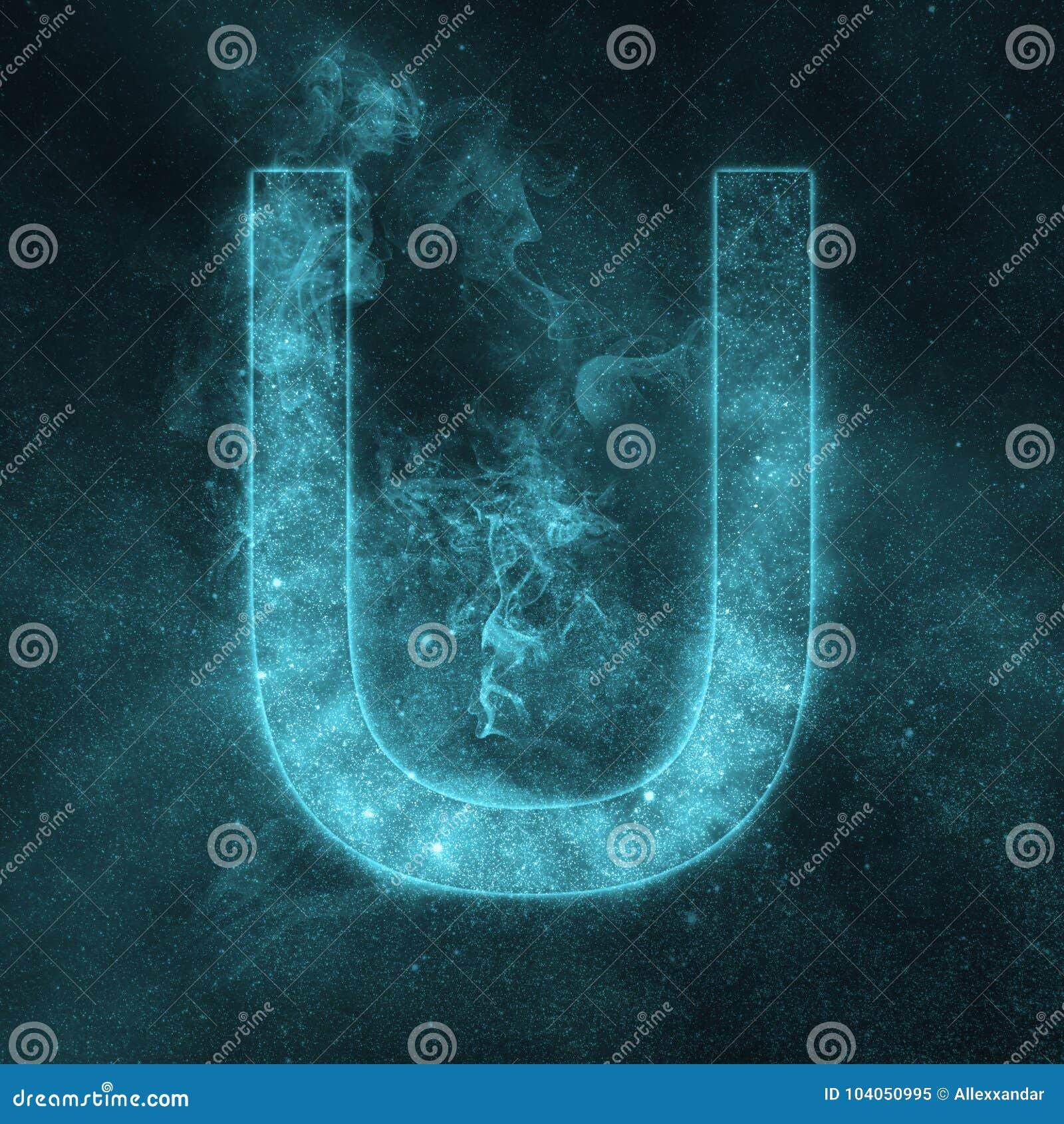 Letter U alphabet symbol. Space Letter, Night Sky Letter.