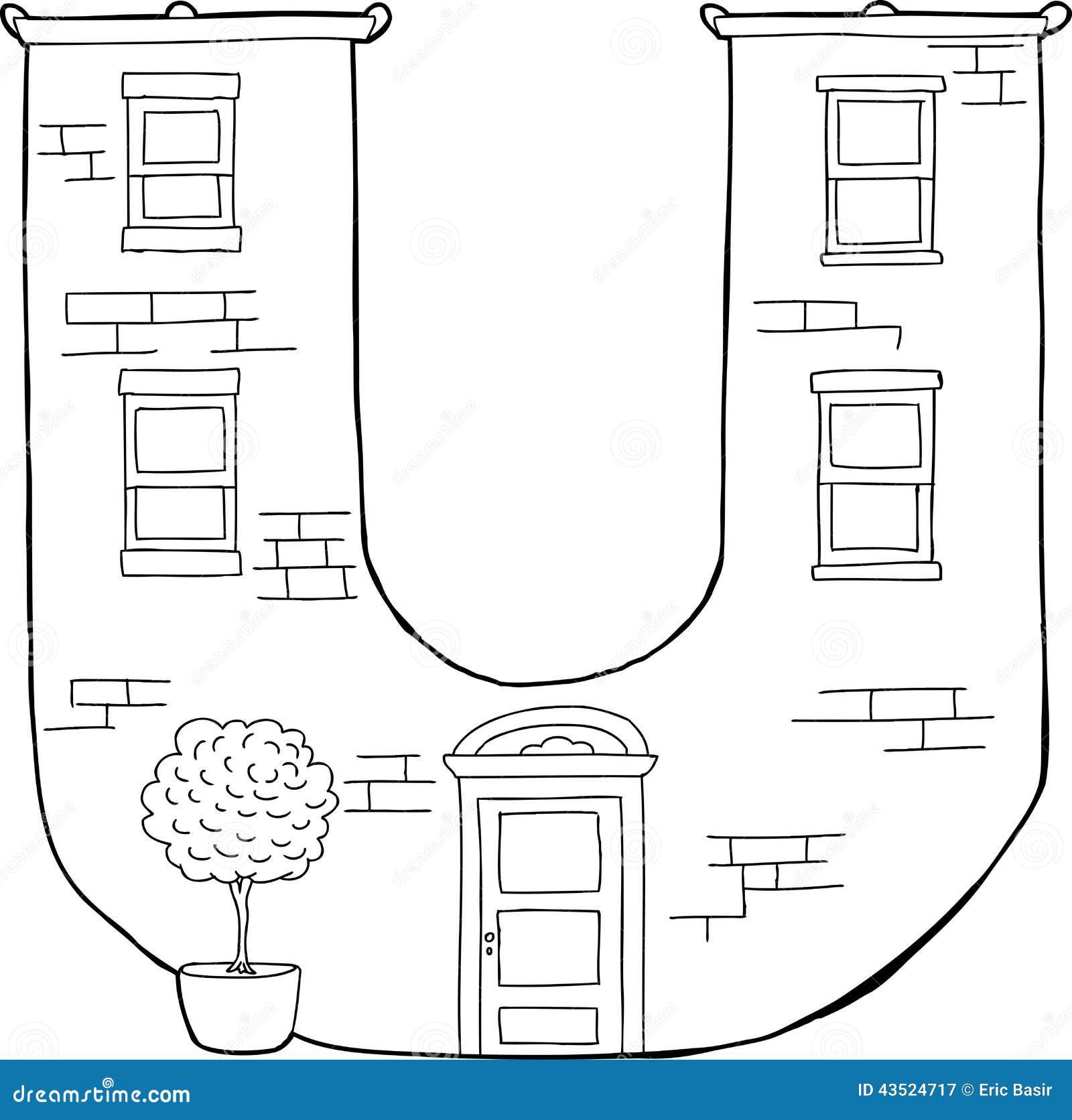 letter u apartment outline stock vector. illustration of letter