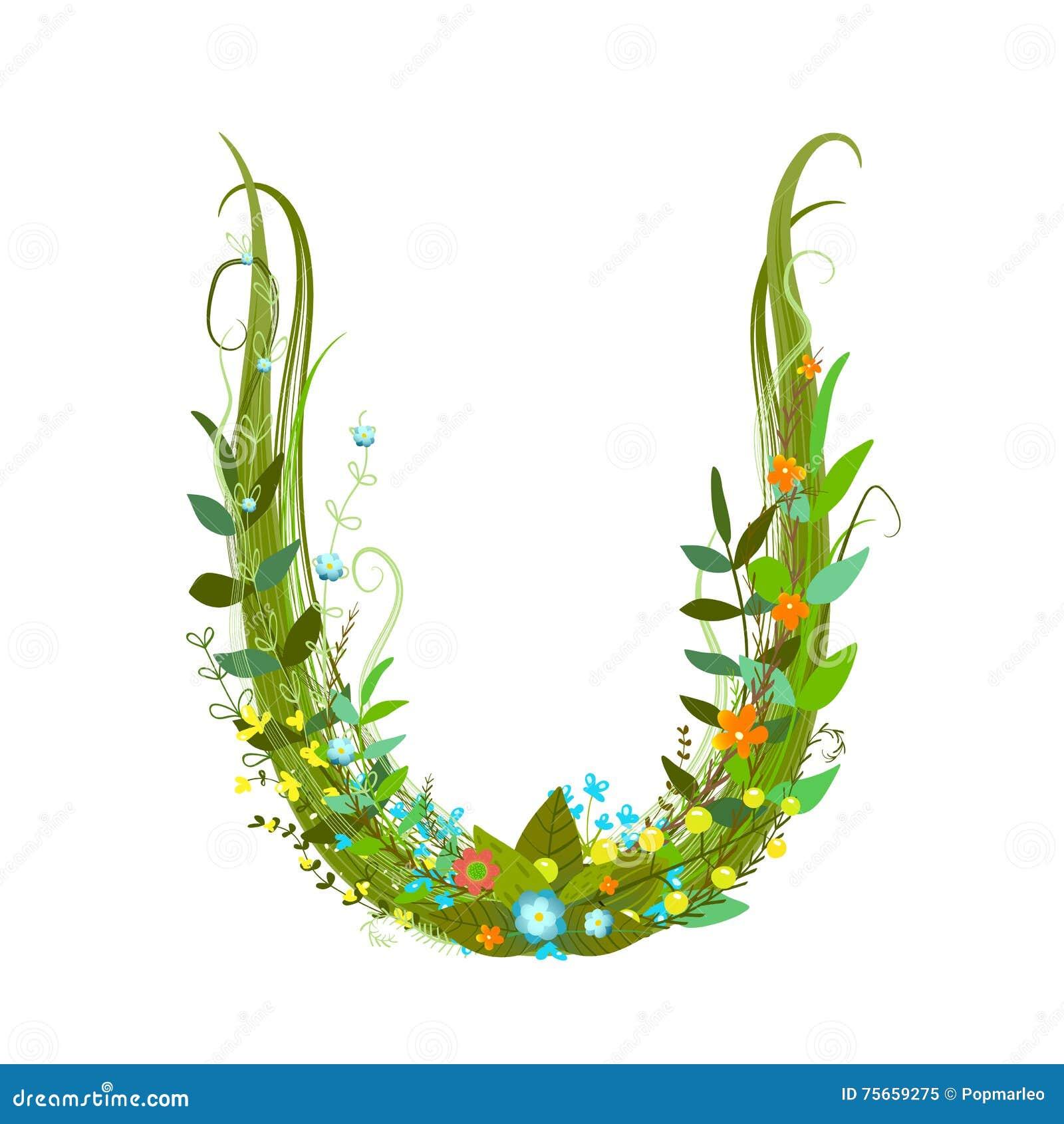 Letter U Floral Latin Decorative Character Alphabet Lettering Sign
