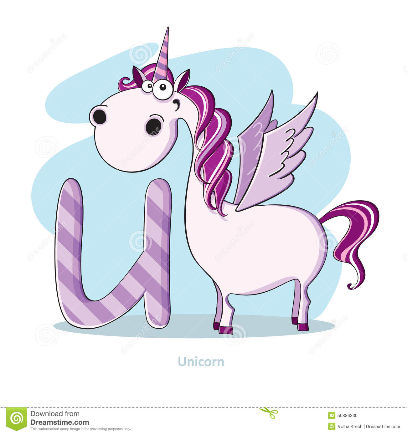 Letter U With Funny Unicorn Stock Vector - Image: 50886330
