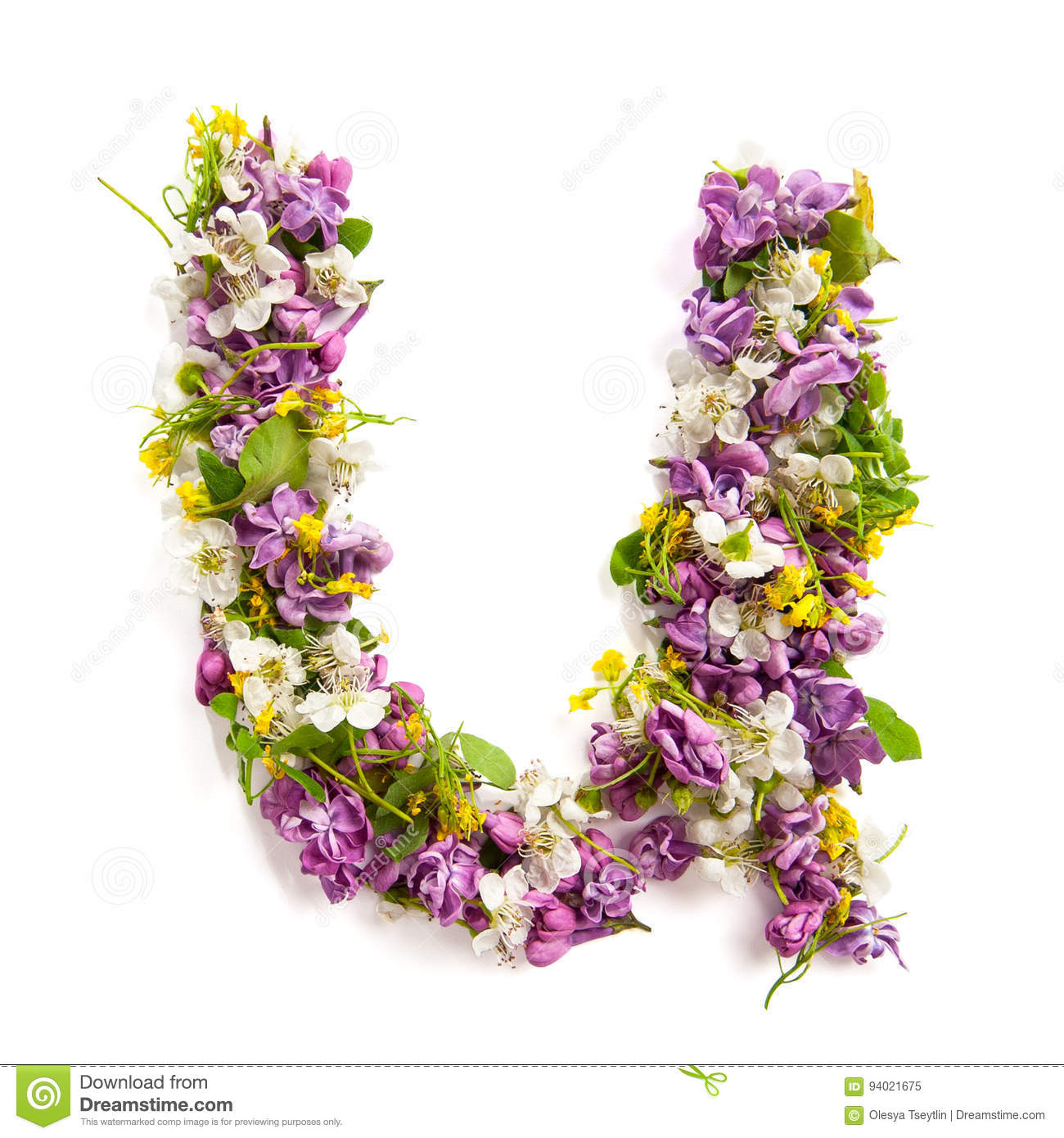 The letter «U» made of various natural small flowers.