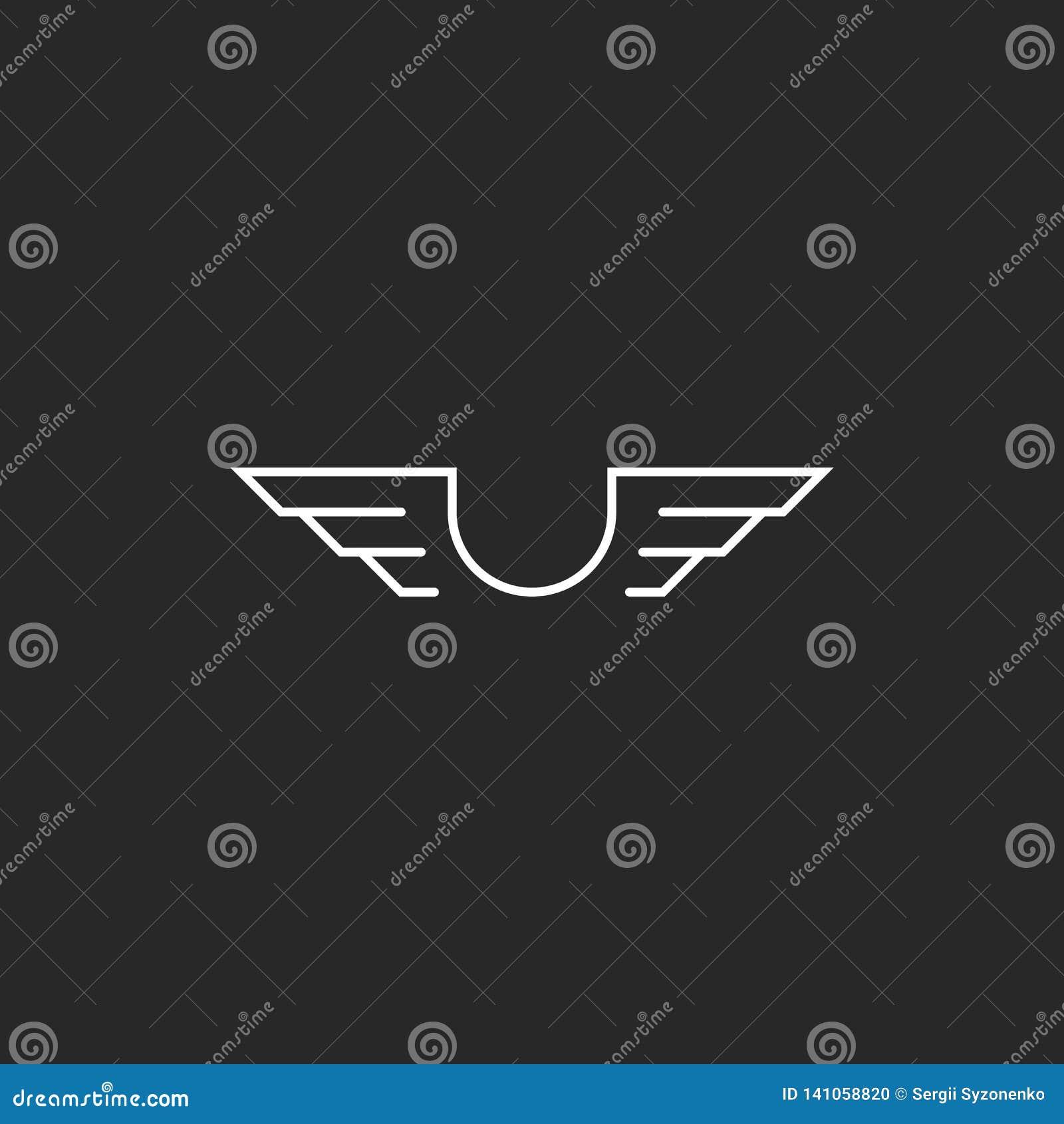 Letter U monogram wings logo mockup, thin line design element, creative idea flying emblem