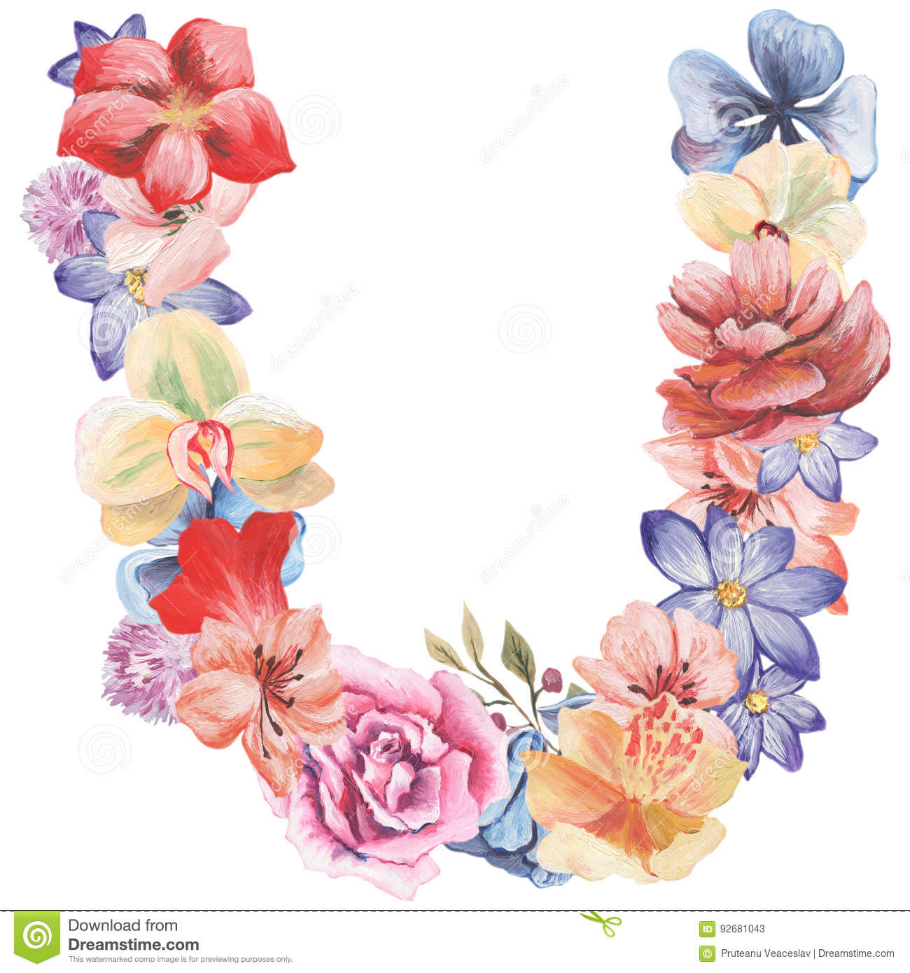letter u of watercolor flowers isolated hand drawn on a white background wedding design