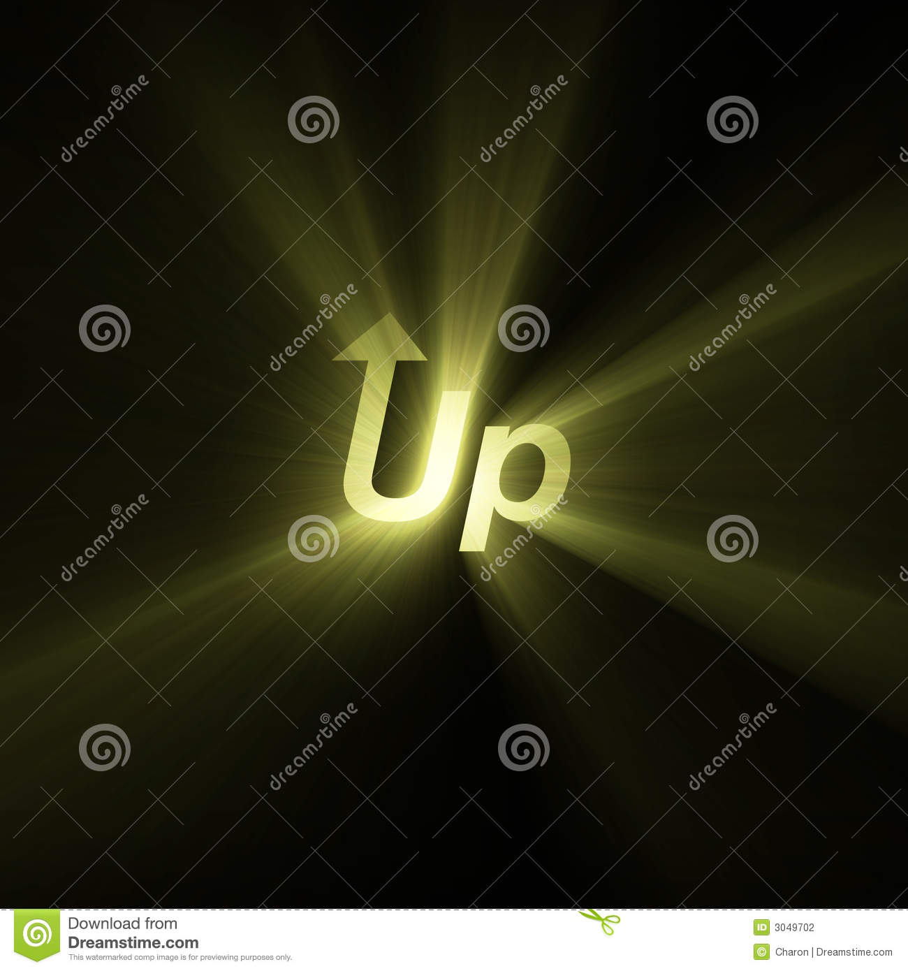 Word Up Arrow Sign Light Flare Stock Illustration Illustration Of