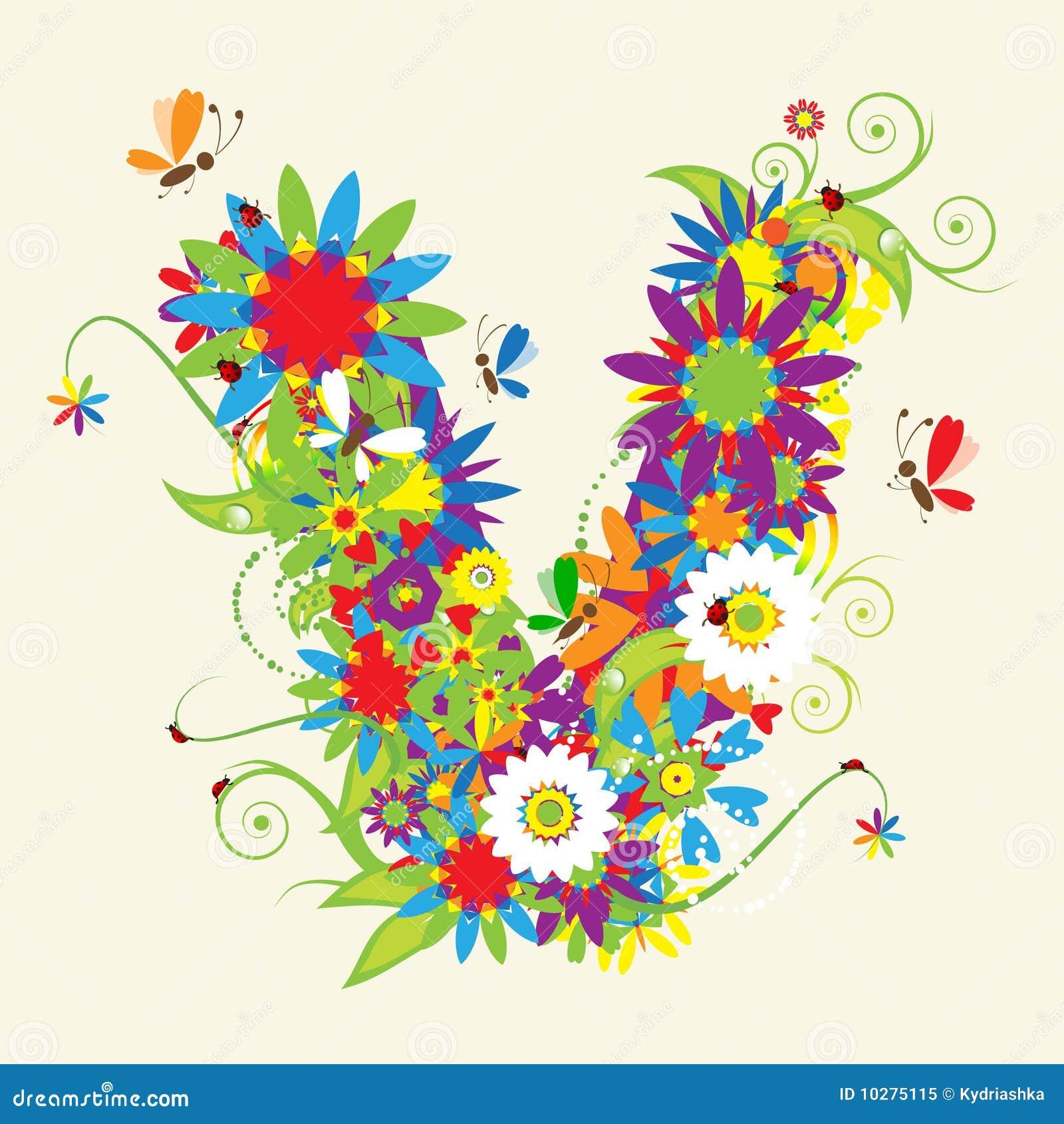 letter v floral design stock vector illustration of curled 10275115. Black Bedroom Furniture Sets. Home Design Ideas