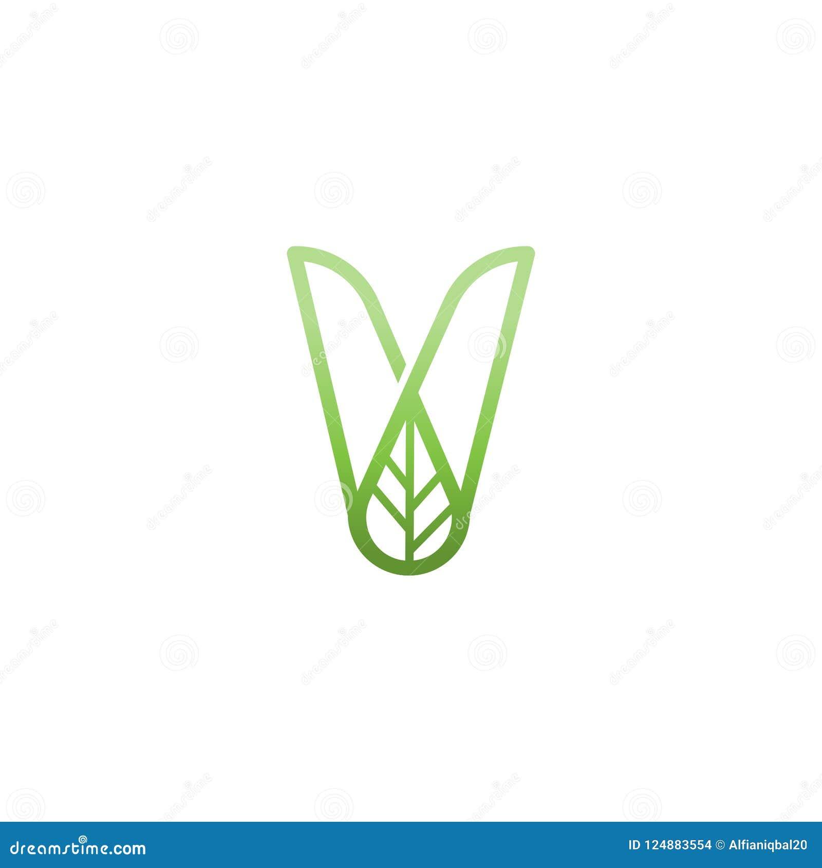 letter v green leaf logo design element initial v logo template