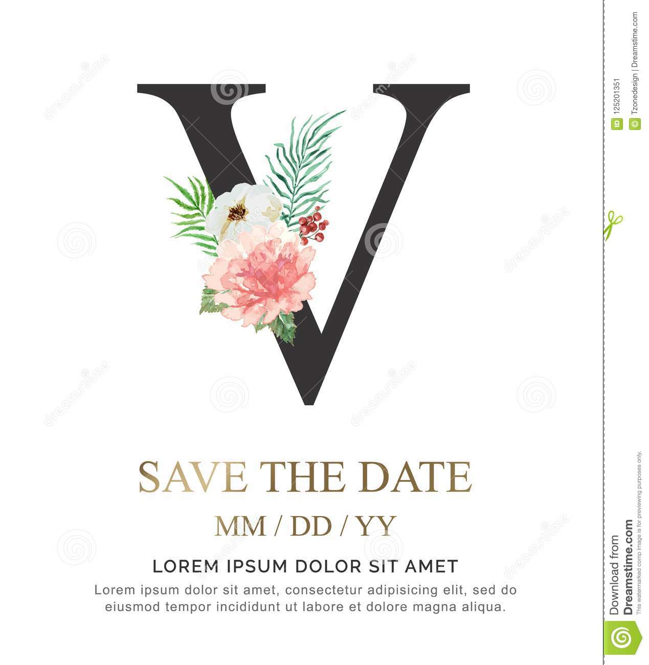 Letter V Hand Paint Watercolor Flower And Leaf For Wedding And