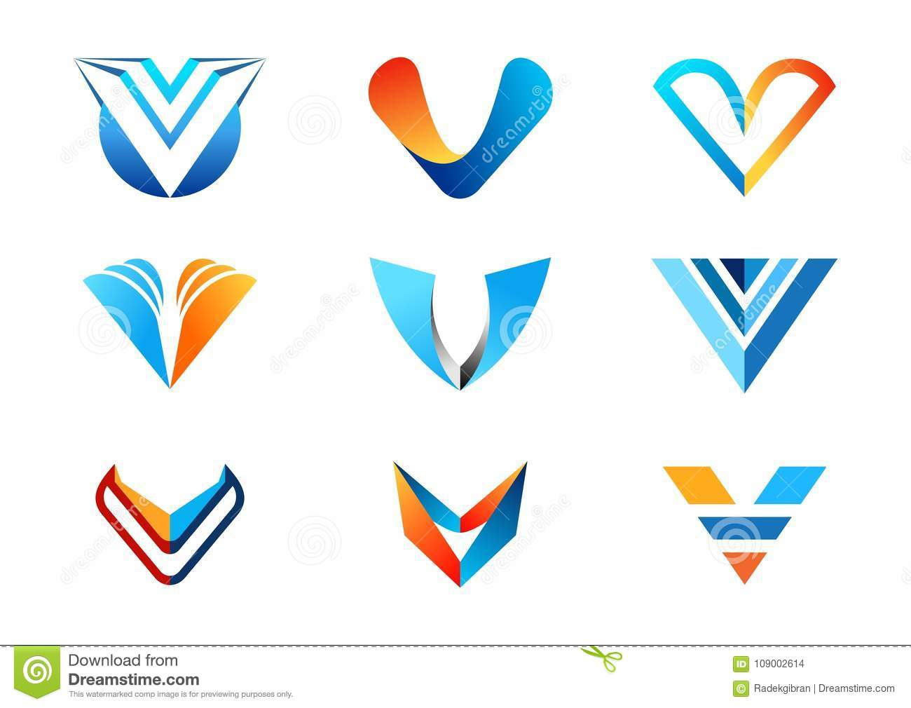 Letter V logo, abstract elements concept company logos, collection set of letters V blue business logo symbol icon vector design