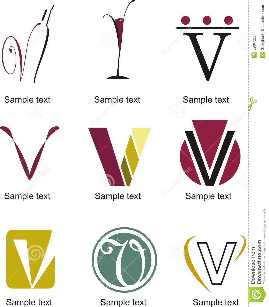 letter v logo stock vector image of crafts background