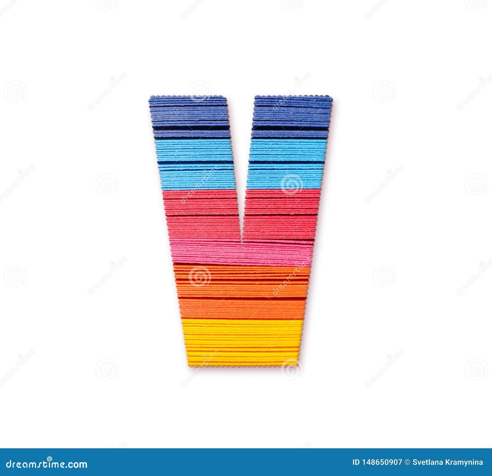 Letter V. Rainbow color paper.
