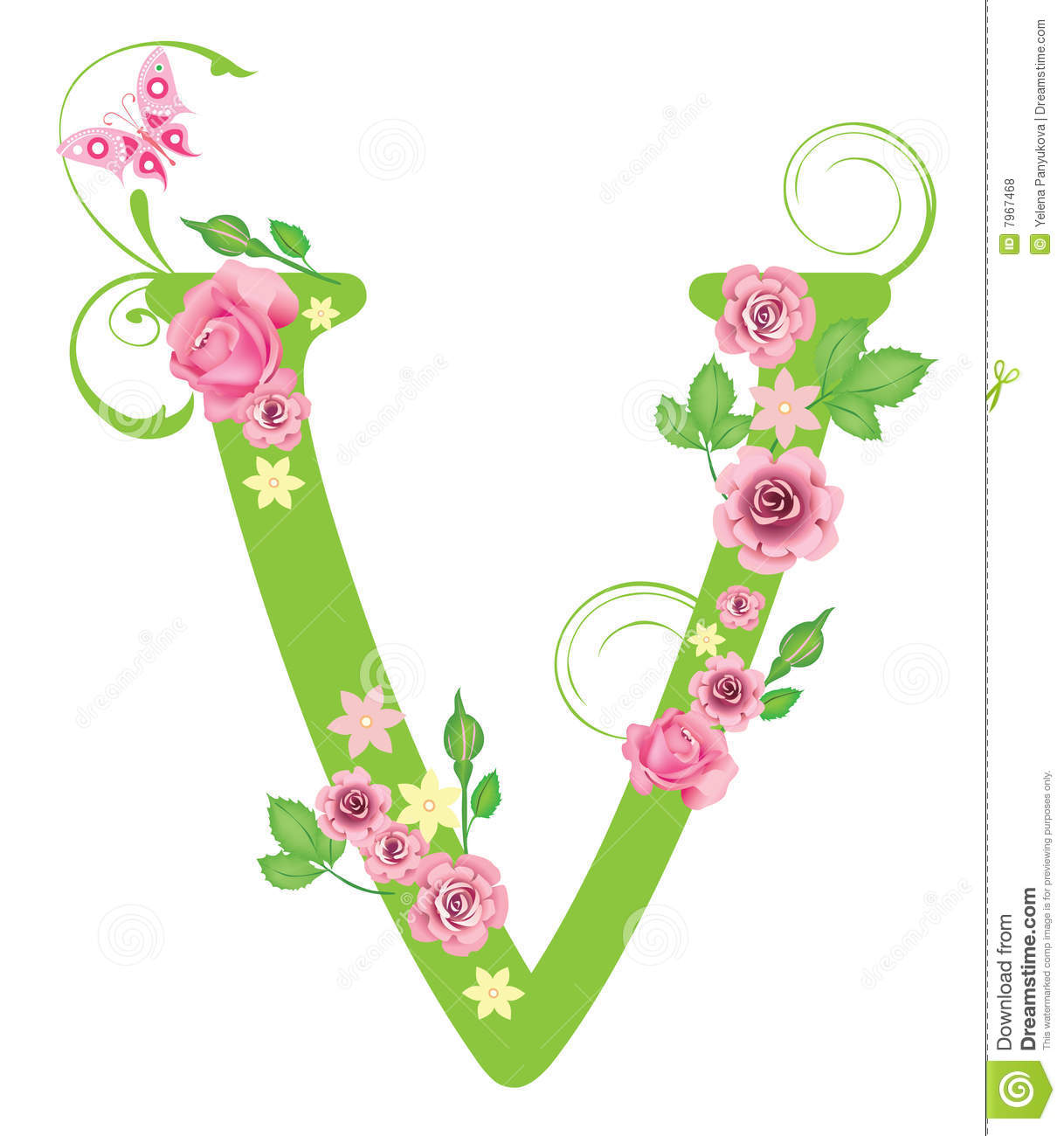 Letter v with roses stock vector illustration of flower 7967468 letter v with roses altavistaventures Choice Image
