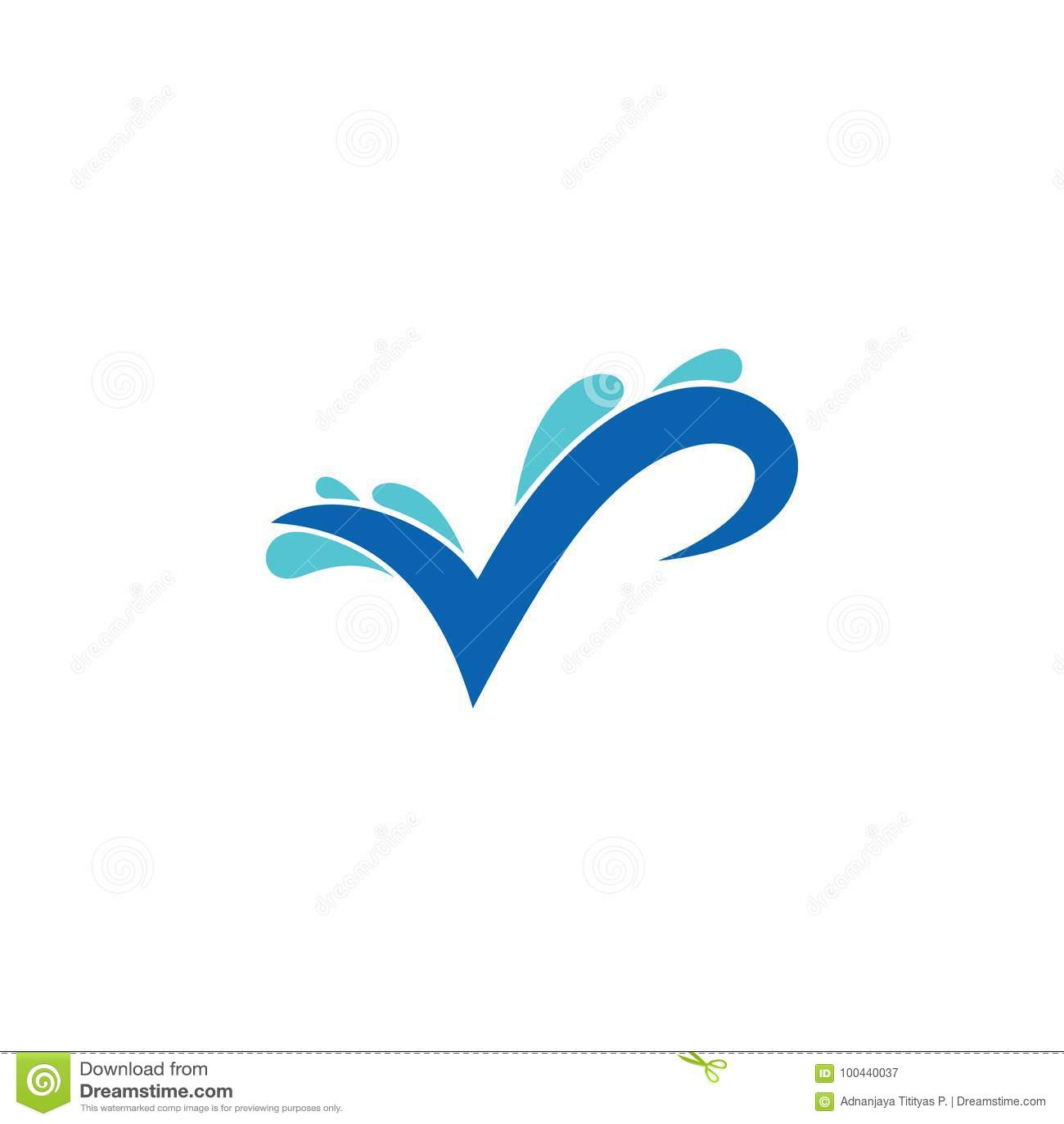 Letter V With Splash Water Symbol Logo Stock Vector Illustration