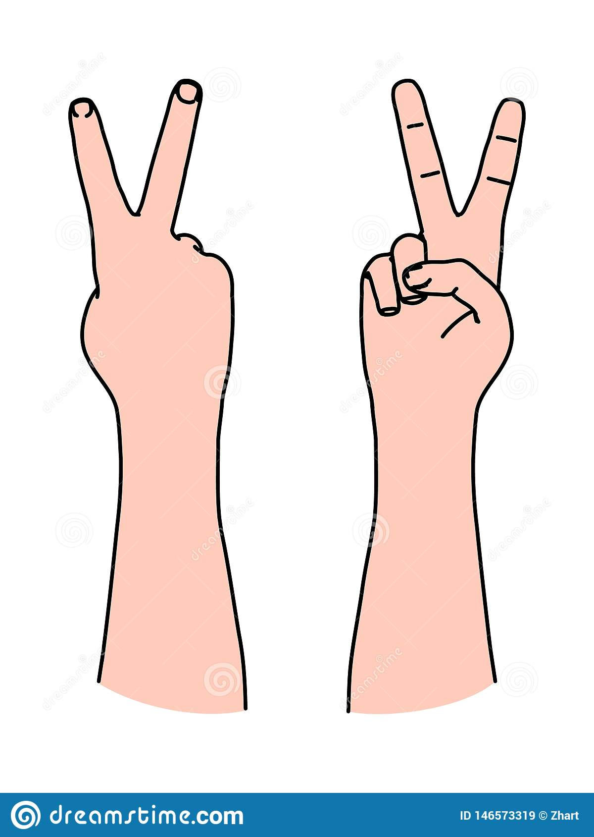 Letter V by two fingers as Victory symbol and sign of peace