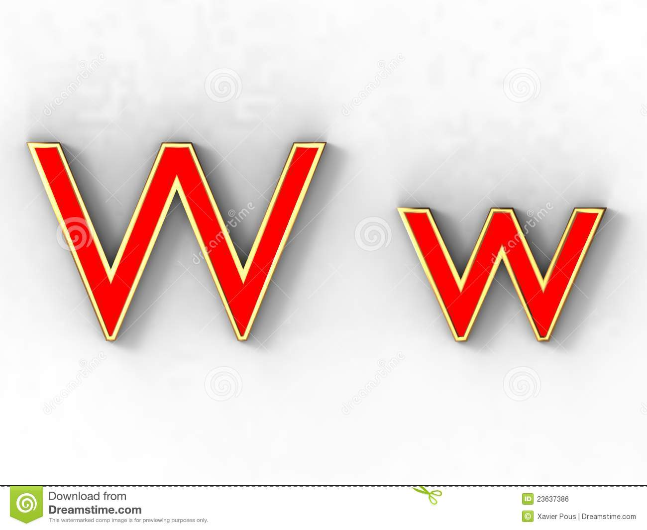 3d rendering of the letter W in gold and red metal on a white ...