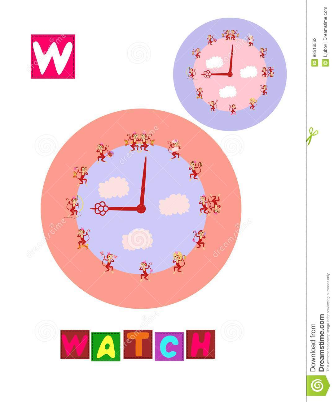 Letter W. Cute Cartoon English Alphabet With Colorful Image And Word ...