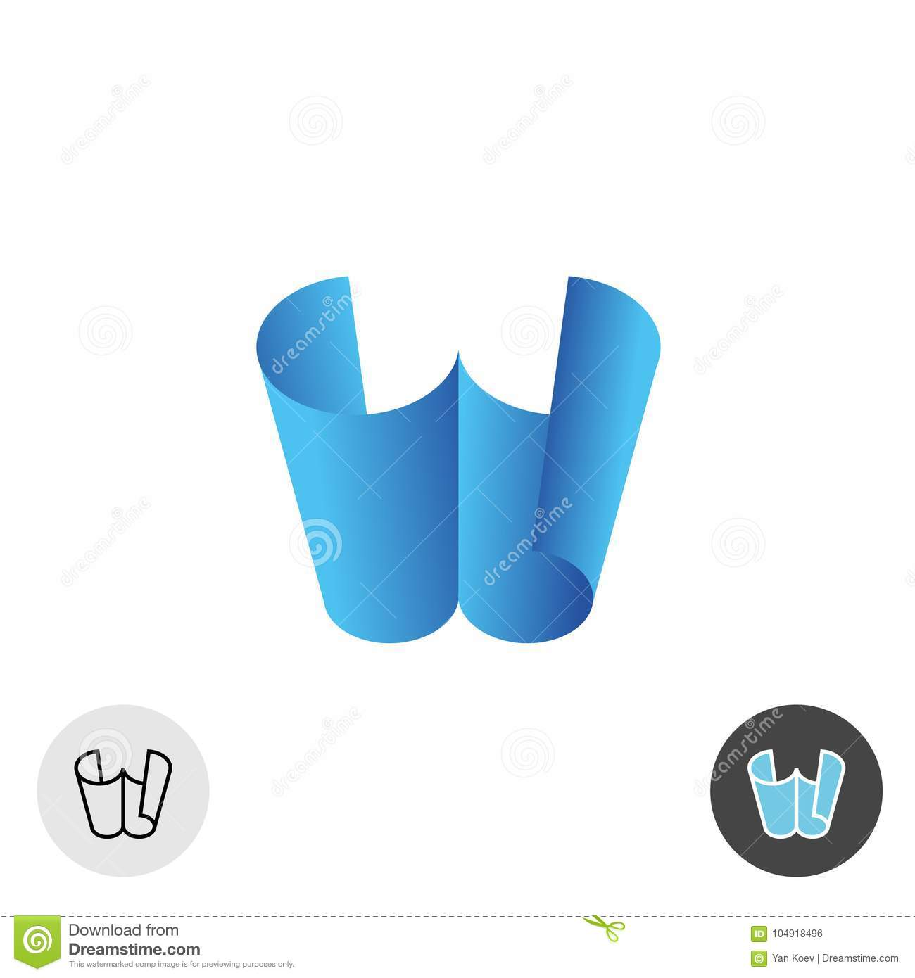 Letter W Logo. Two Paper Sheets 3D Perspective Concept. Stock Vector ...