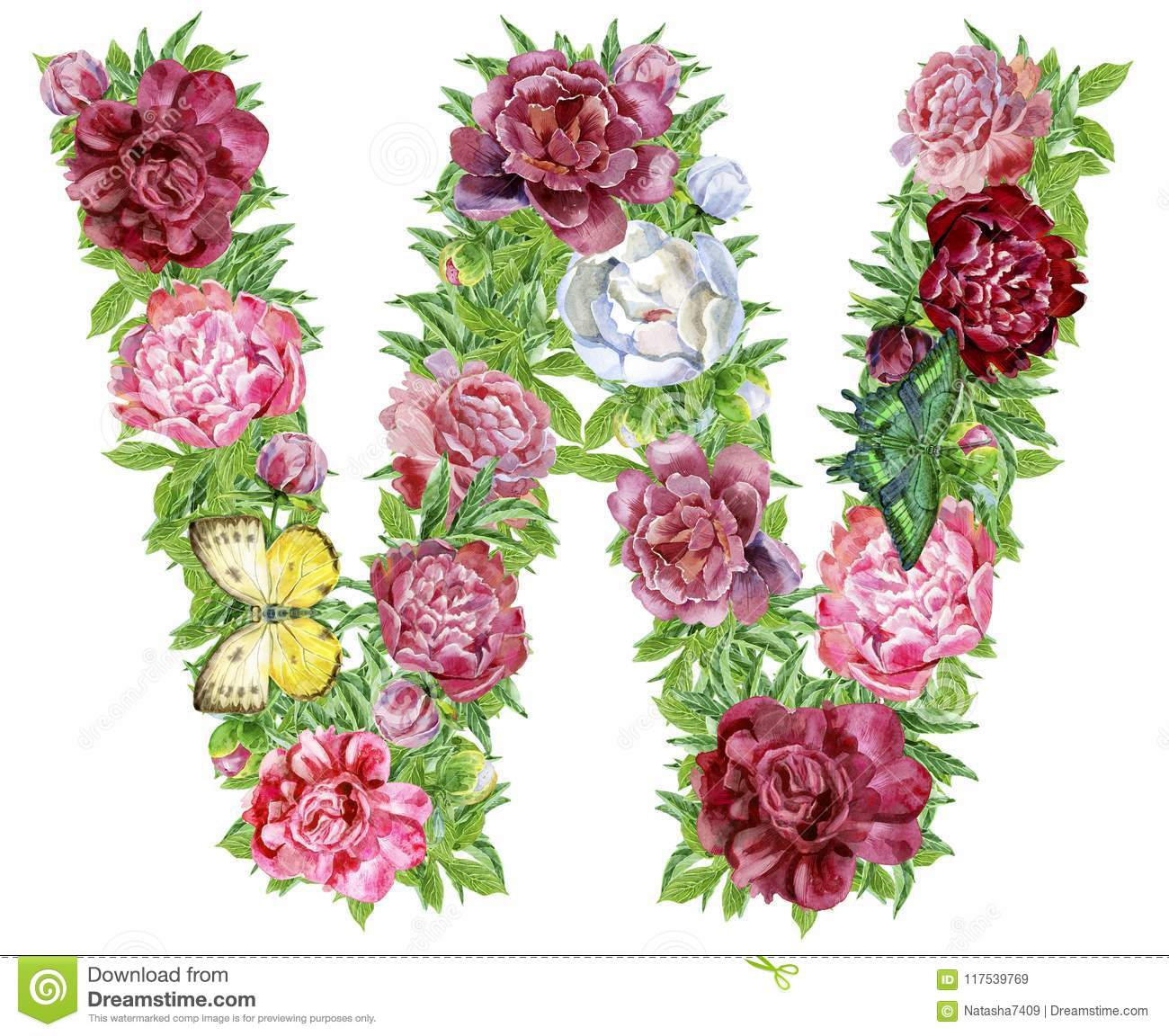 Letter W of watercolor flowers