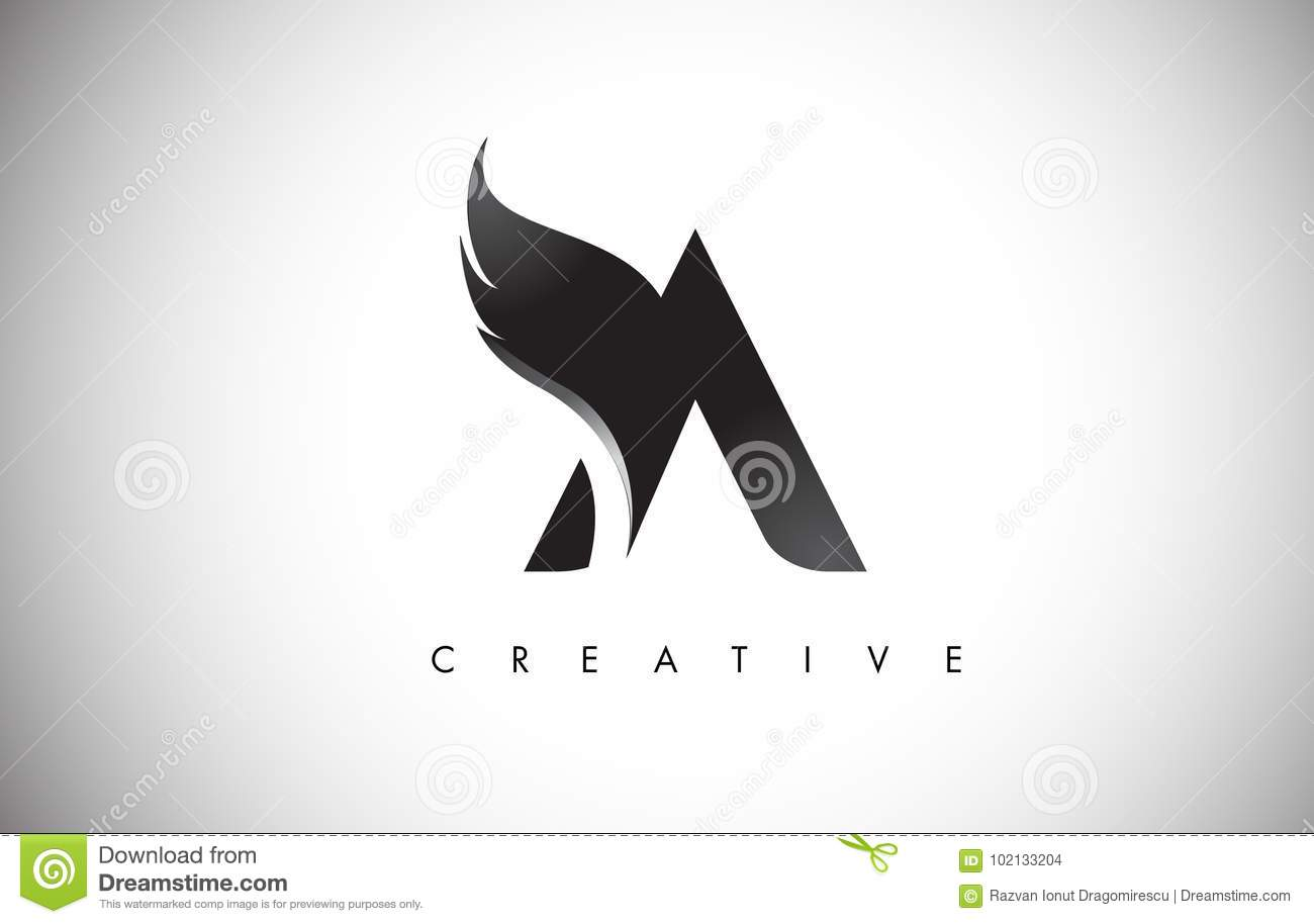 A Letter Wings Logo Design With Black Bird Fly Wing Icon