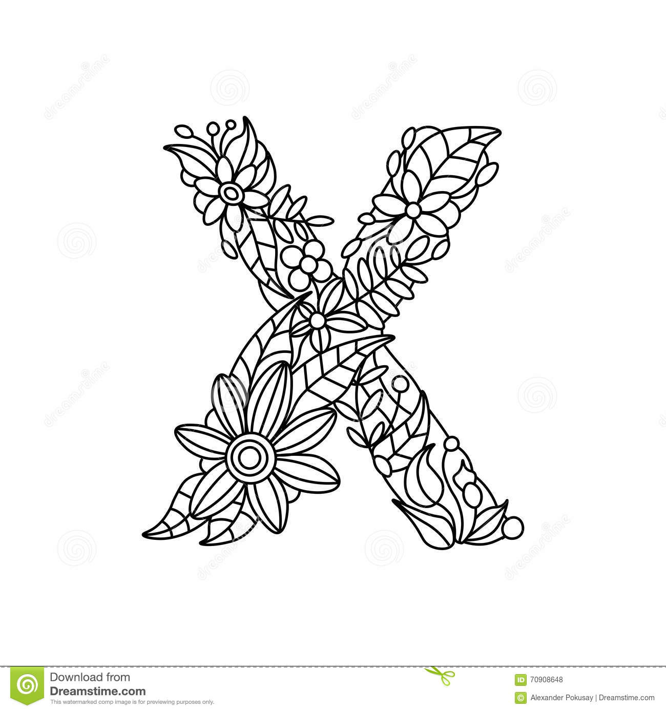 Royalty Free Vector Download Letter X Coloring Book