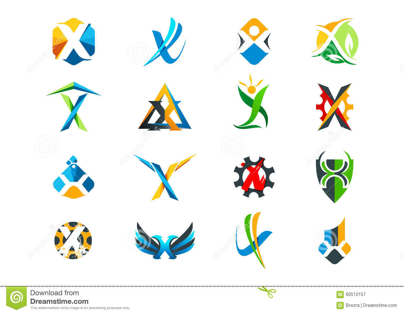 Letter X Concept Logo Design Stock Vector Image 60512157