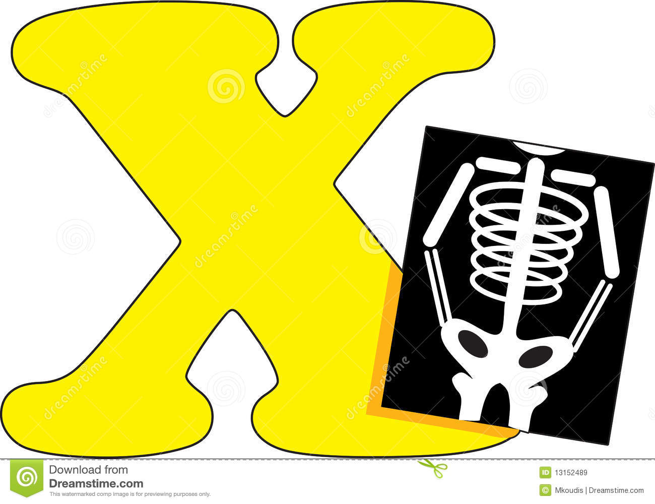 letter x with an x ray stock vector illustration of font 13152489