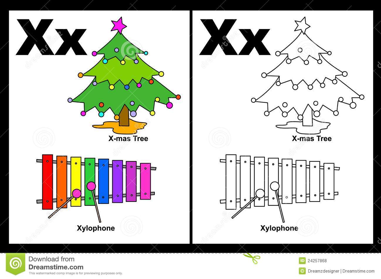 Alphabet letter X with colorful cliparts and coloring graphics ...