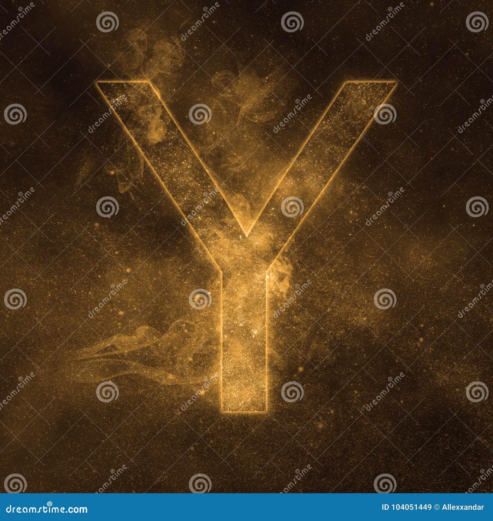 Letter Y alphabet symbol. Space Letter, Night Sky Letter.