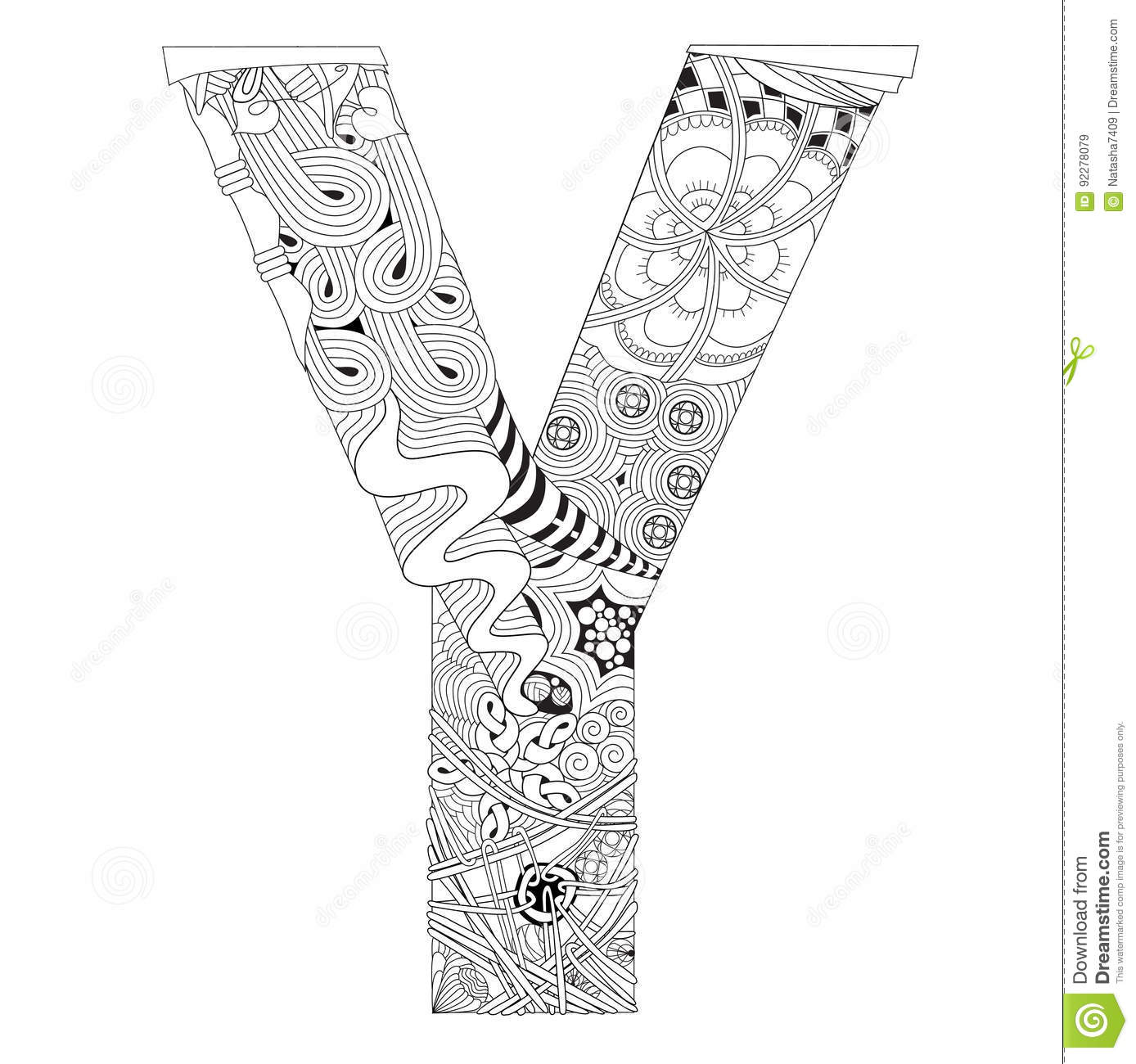 Letter Y Coloring Pages: Letter Y For Coloring. Vector Decorative Zentangle Object