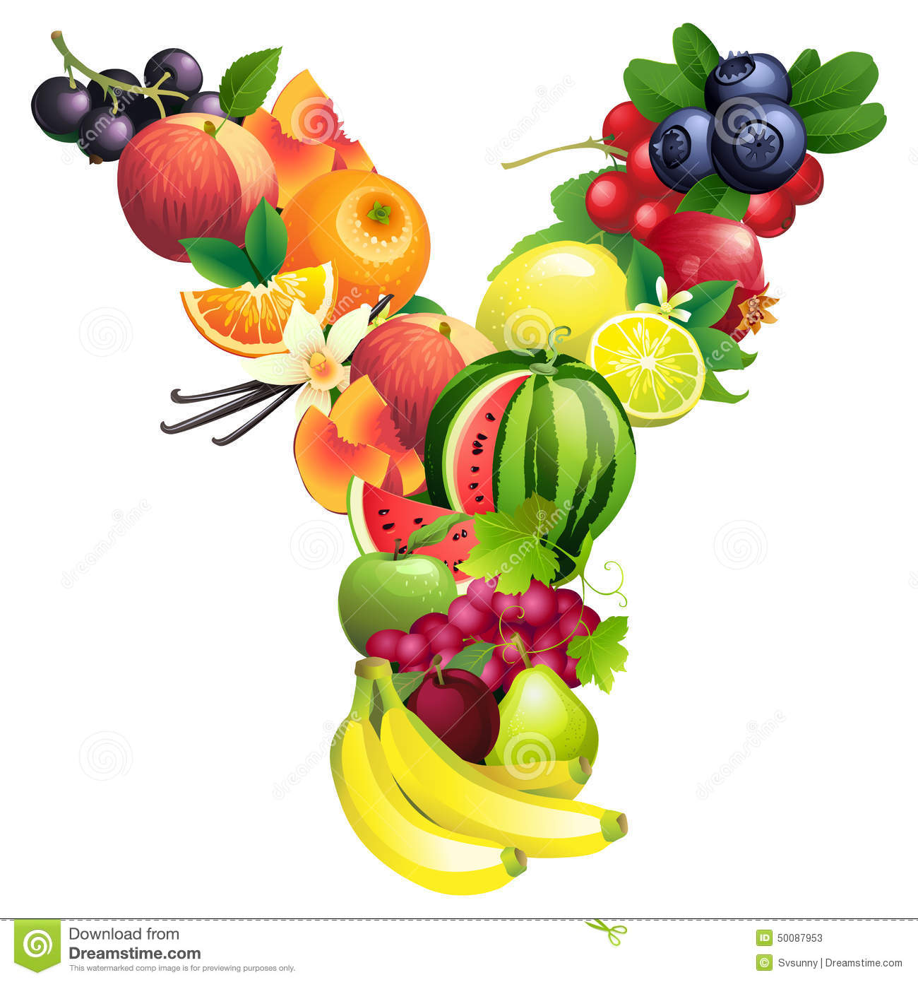 Letter Y Composed Of Different Fruits With Leaves Stock