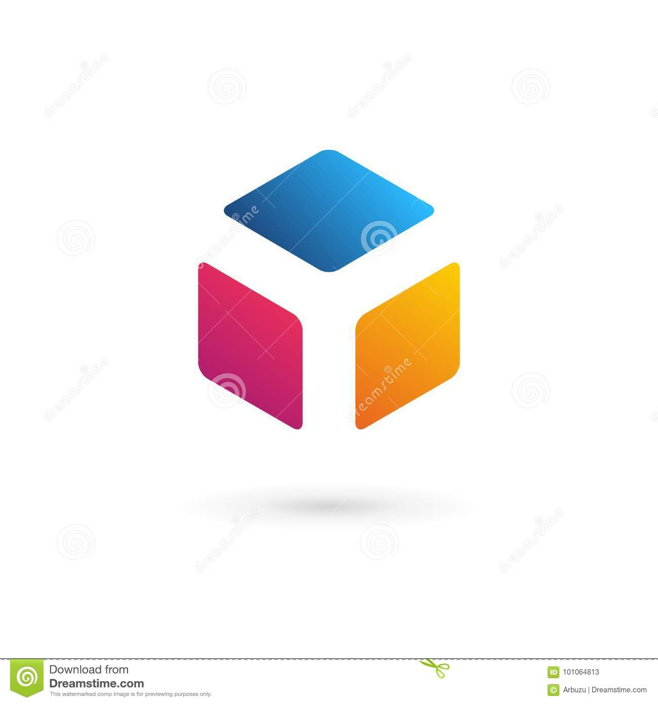 letter y cube logo icon design template elements