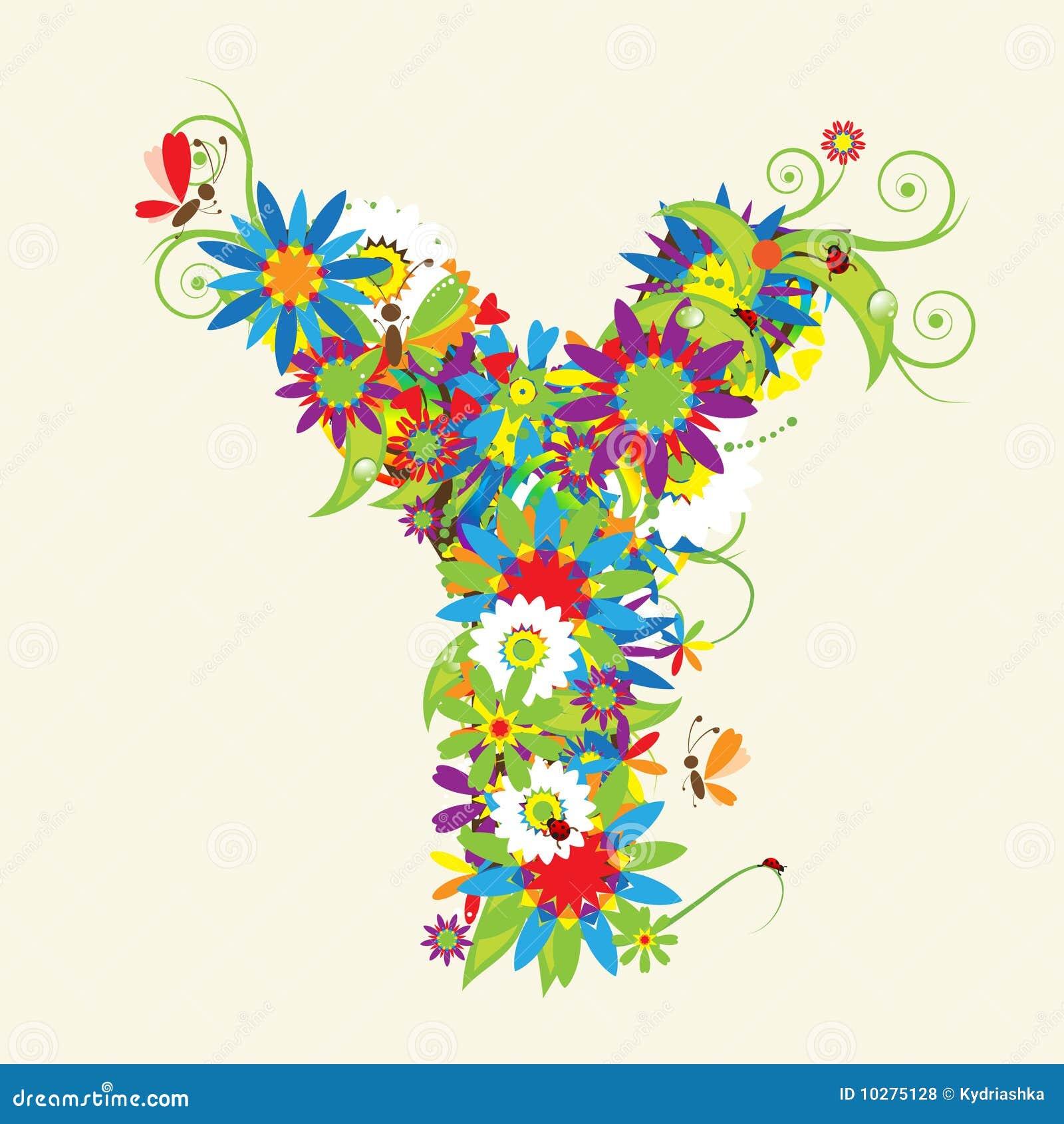 Alphabet Letter Designs Art: Letter Y, Floral Design Stock Vector. Illustration Of