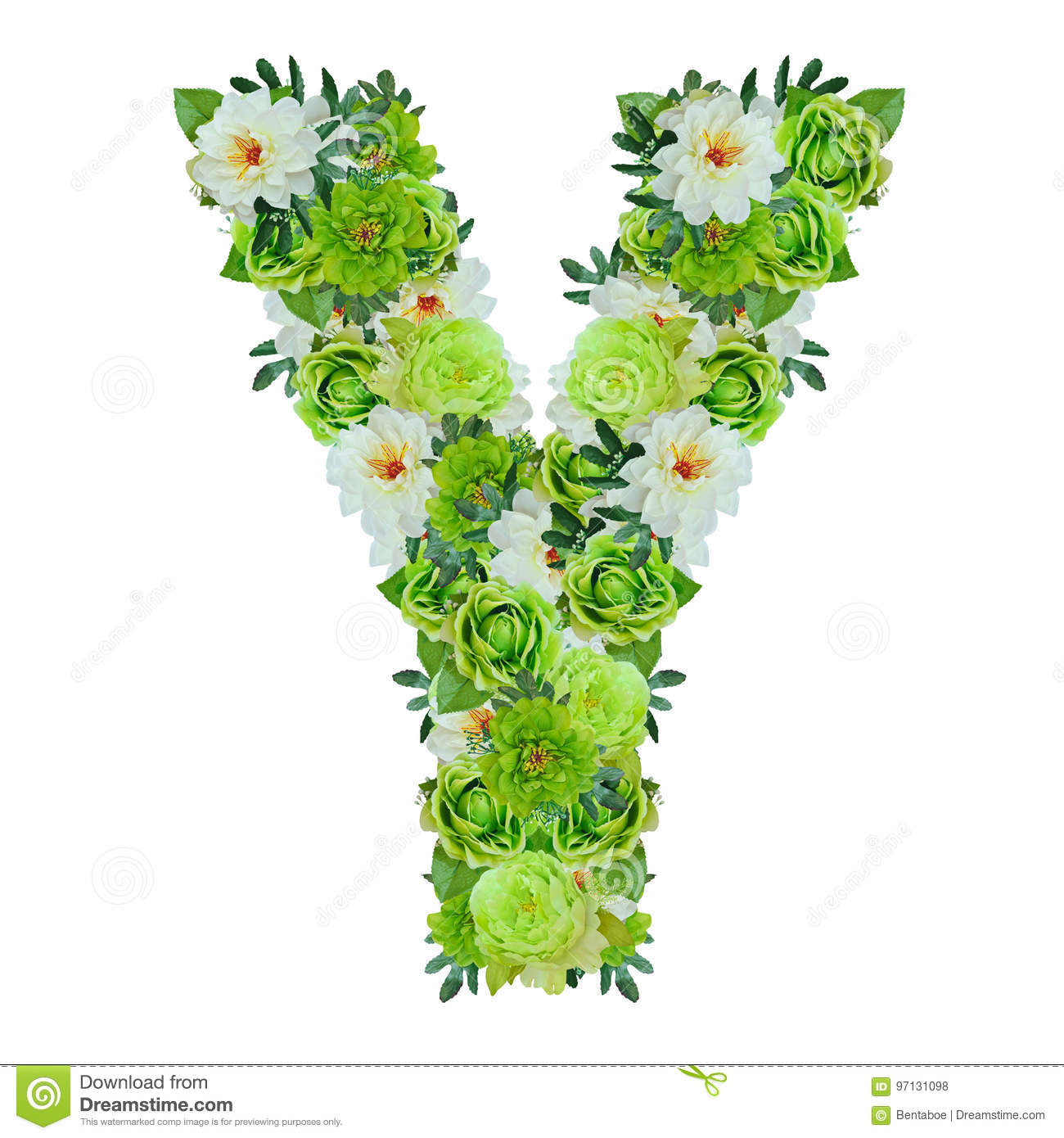 Letter Y From Green And White Flowers Isolated On White Stock