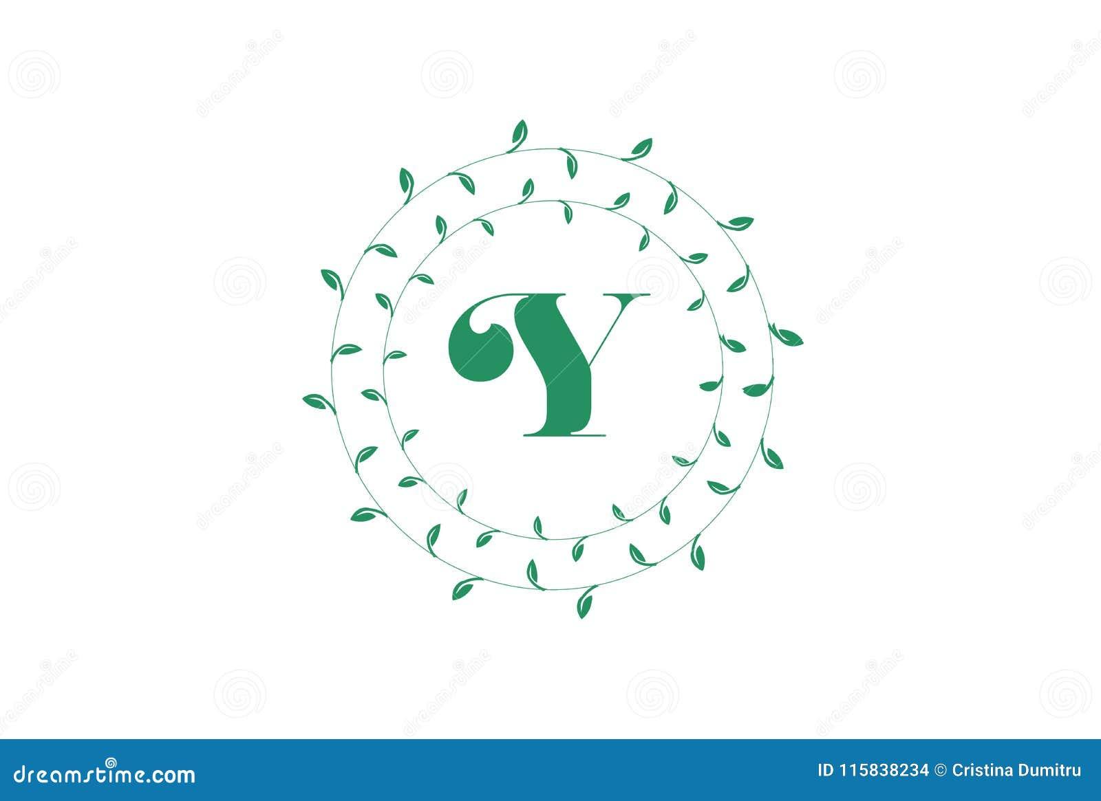 letter y logo with round green leaves elegant floral monogram template design