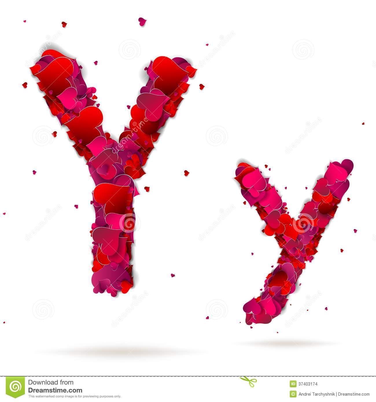 Letter Y Made From Hearts Love Alphabet Stock Images