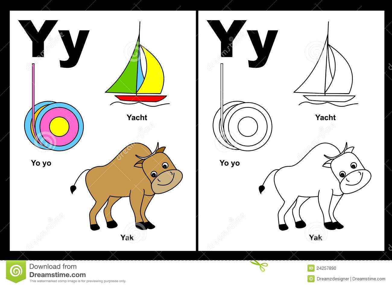 Alphabet letter Y with colorful cliparts and coloring graphics ...