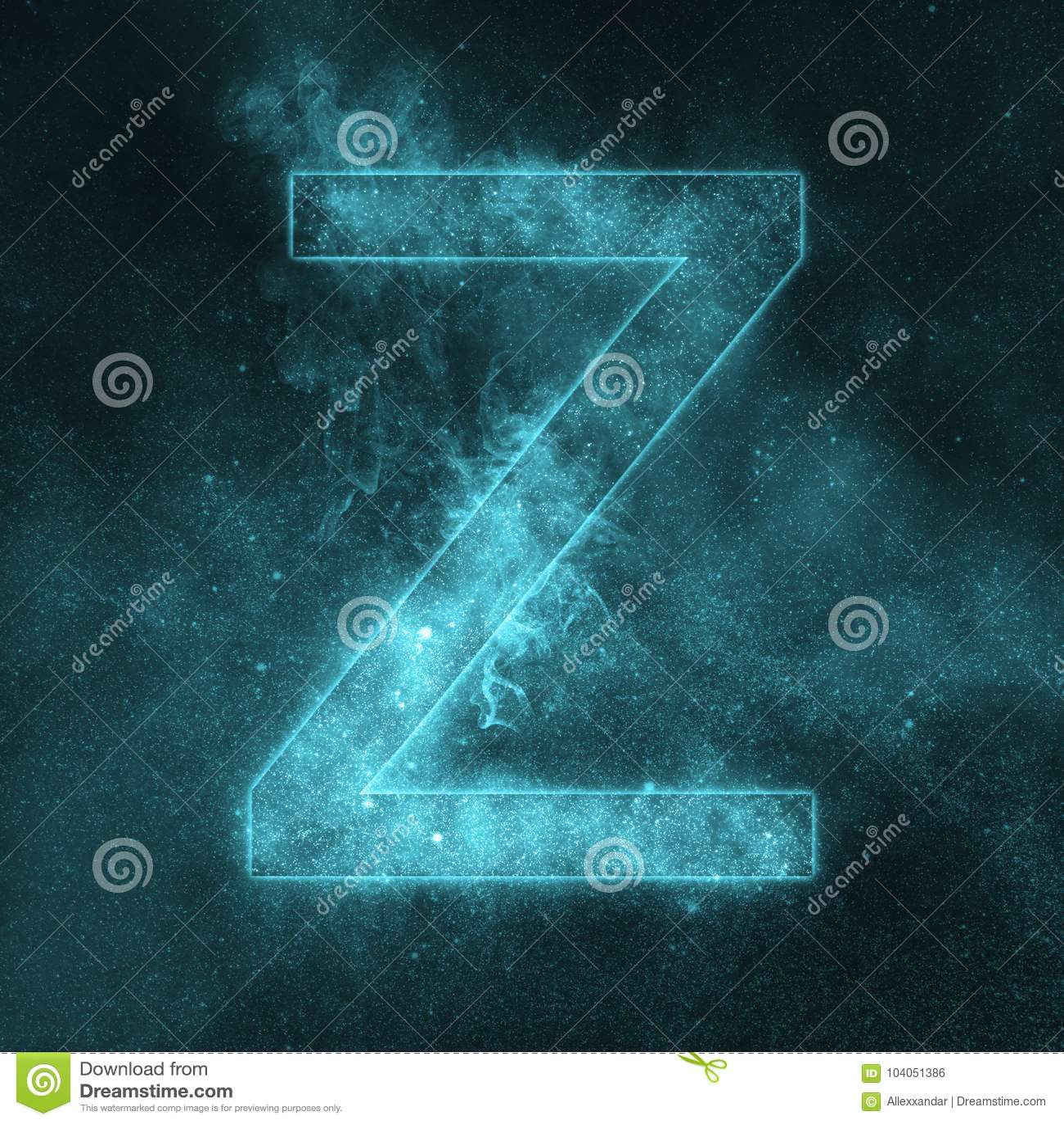 Letter Z alphabet symbol. Space Letter, Night Sky Letter.