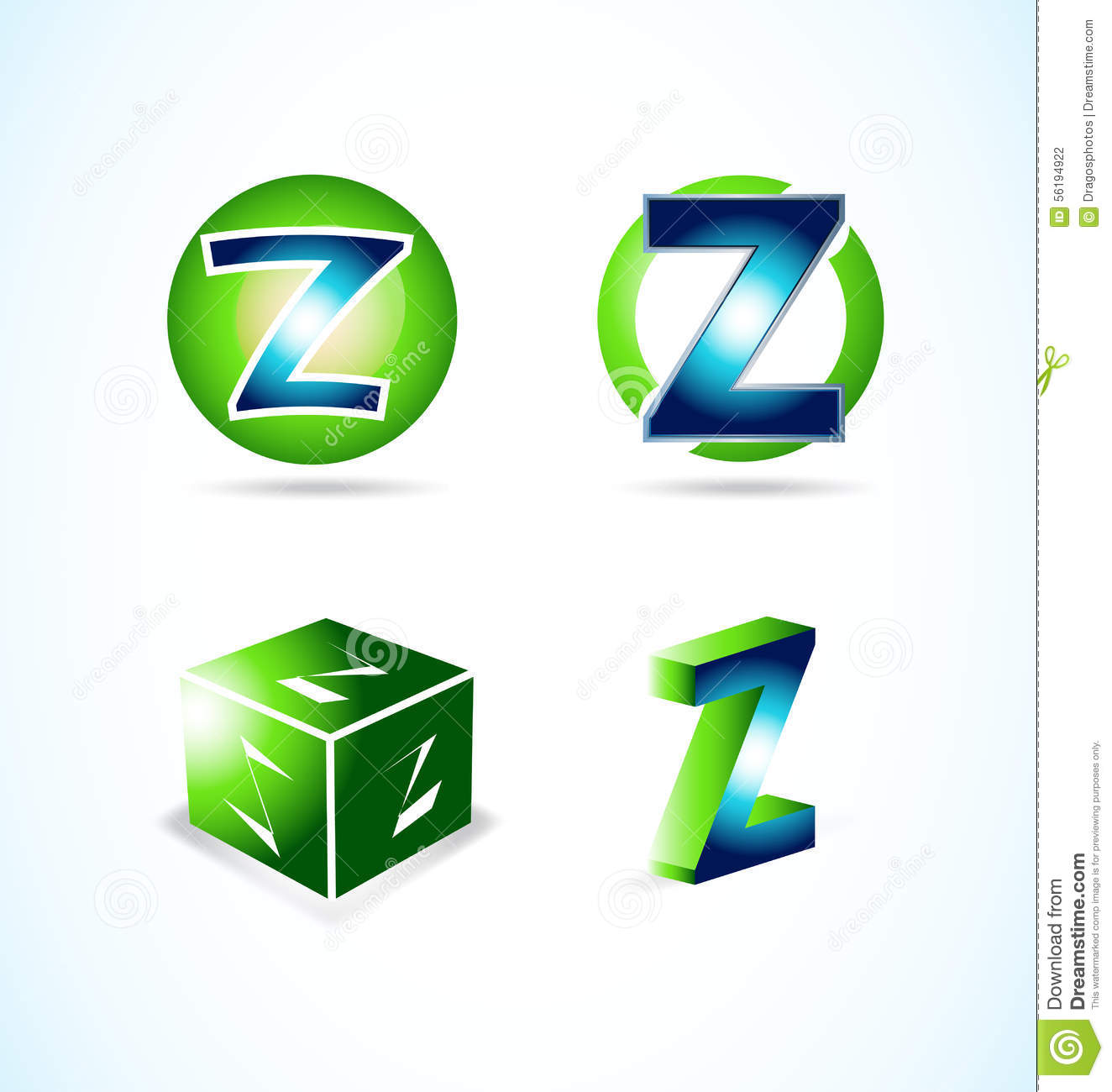 Letter Z Green Blue Logo