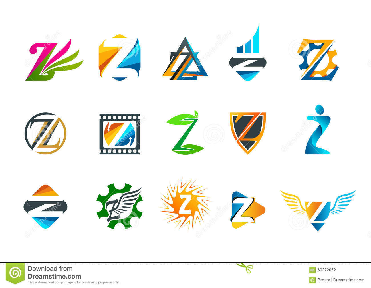 Logotype butterfly and letter b in different colour variants on a - Letter Z Symbol Concept Logo Design Stock Photography