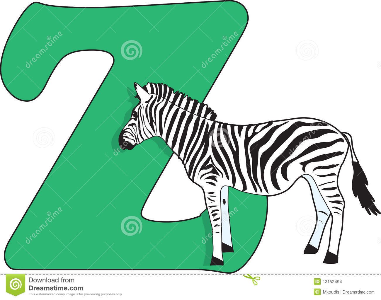 Letter Z With A Zebra Stock Images - Image: 13152494