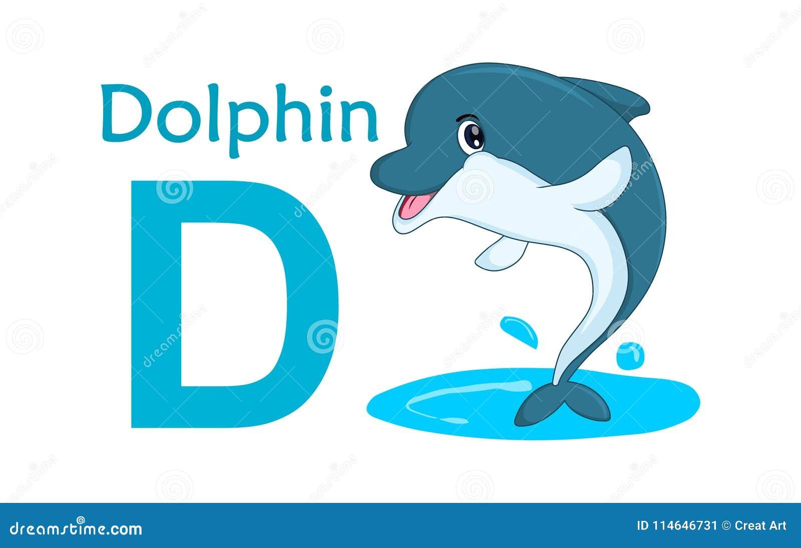 Lettera Animale Di Alfabeto D Libro Da Colorare D Per Il Delfino