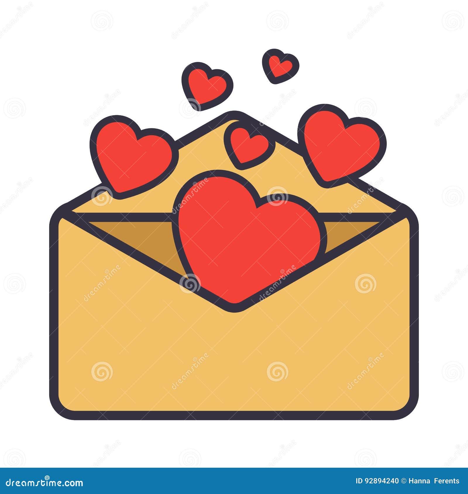 Decorazioni Lettere D Amore lettera di amore busta con cuore illustrazione vettoriale