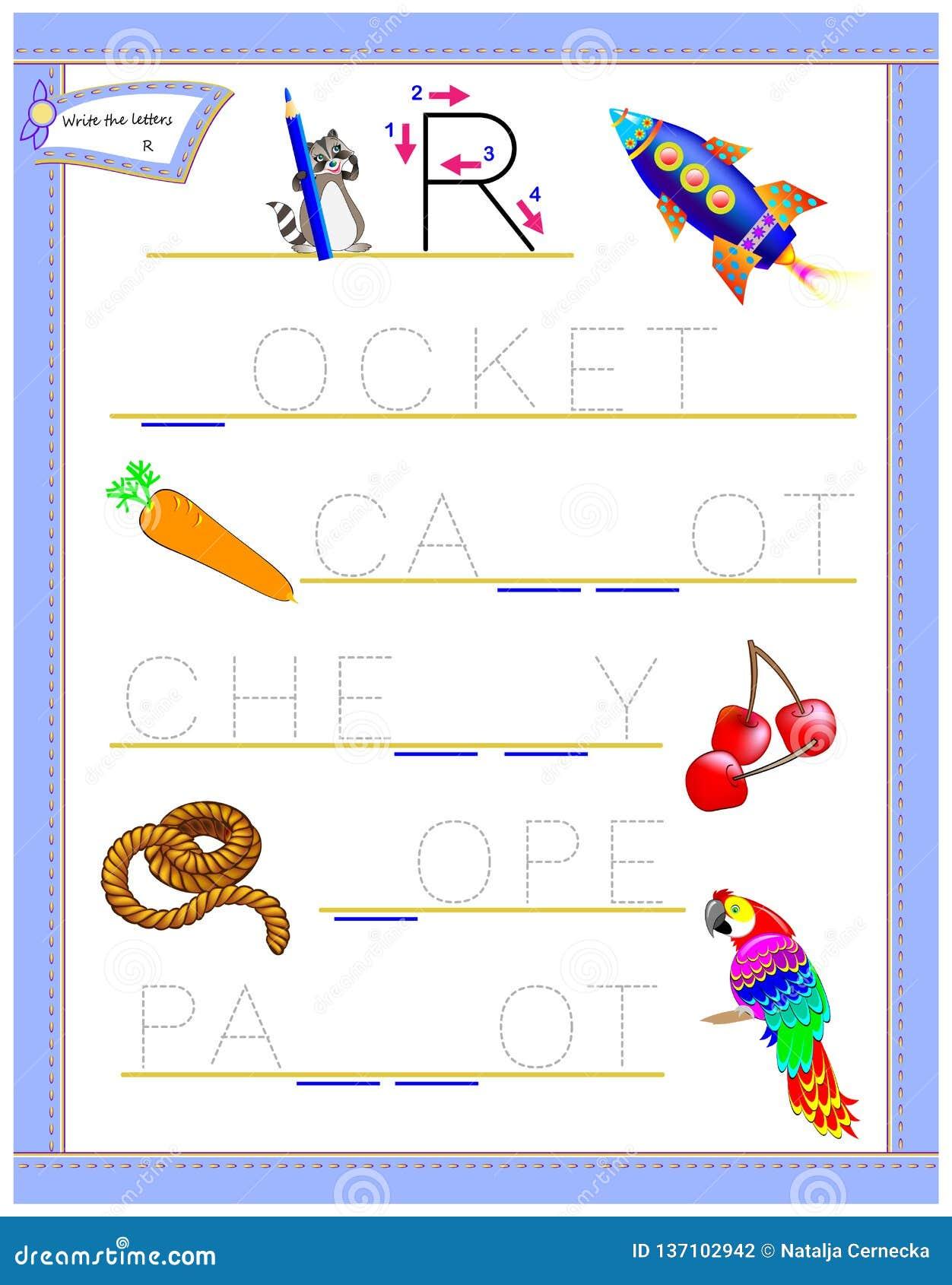 Lettera di rintracciamento R per l alfabeto inglese di studio Foglio di lavoro stampabile per i bambini Gioco di puzzle di logica
