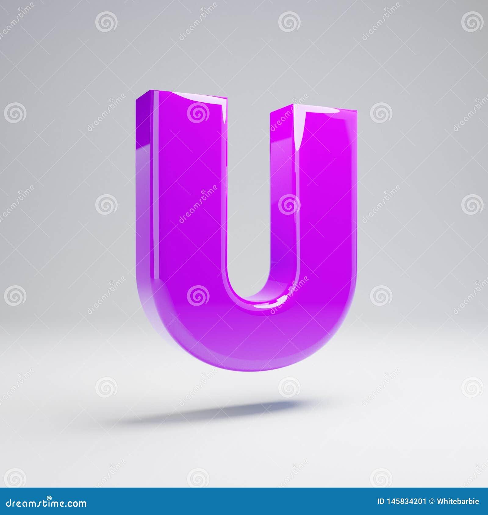 Lettera maiuscola U della viola lucida volumetrica isolata su fondo bianco