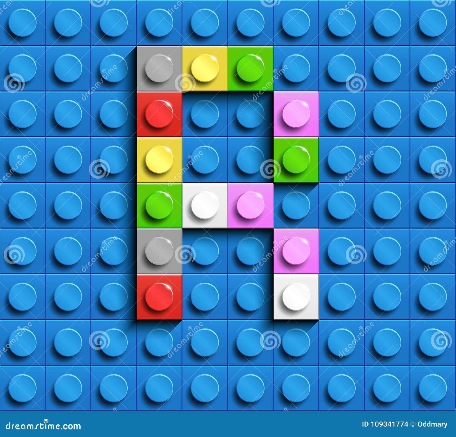 Lettera variopinta R dai mattoni di lego della costruzione sul fondo blu di lego Lettera m. di Lego