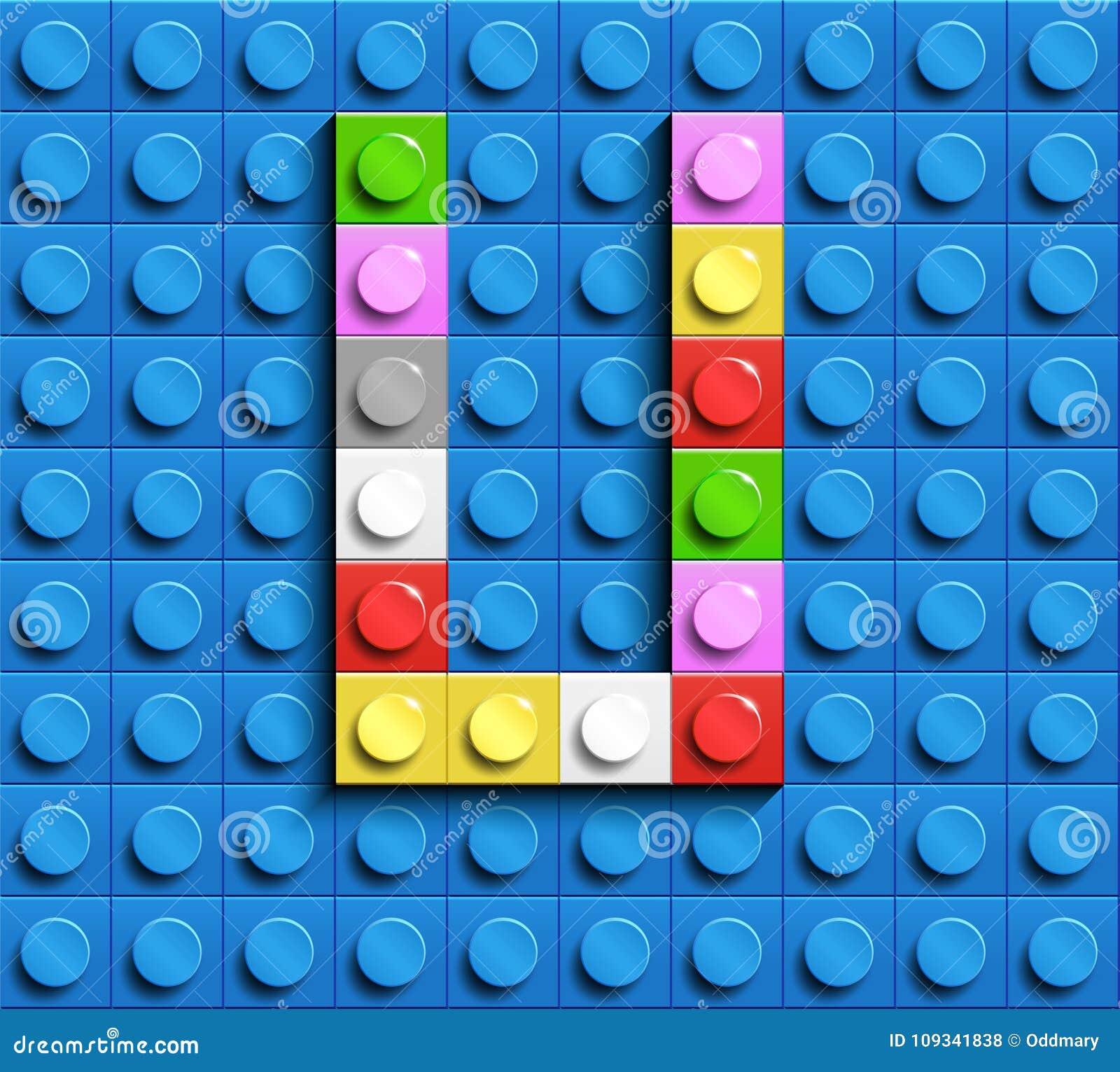 Lettera variopinta U dai mattoni di lego della costruzione sul fondo blu di lego Lettera m. di Lego