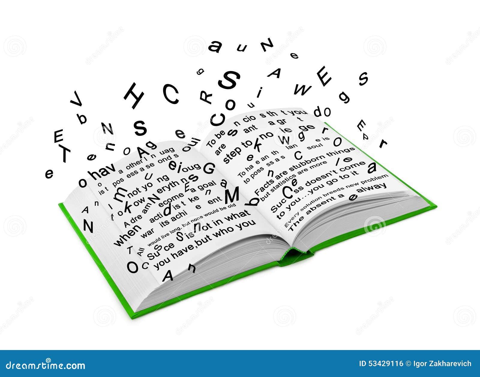 Immagini Lettera E: Lettere Che Volano Da Un Libro Aperto Illustrazione Di