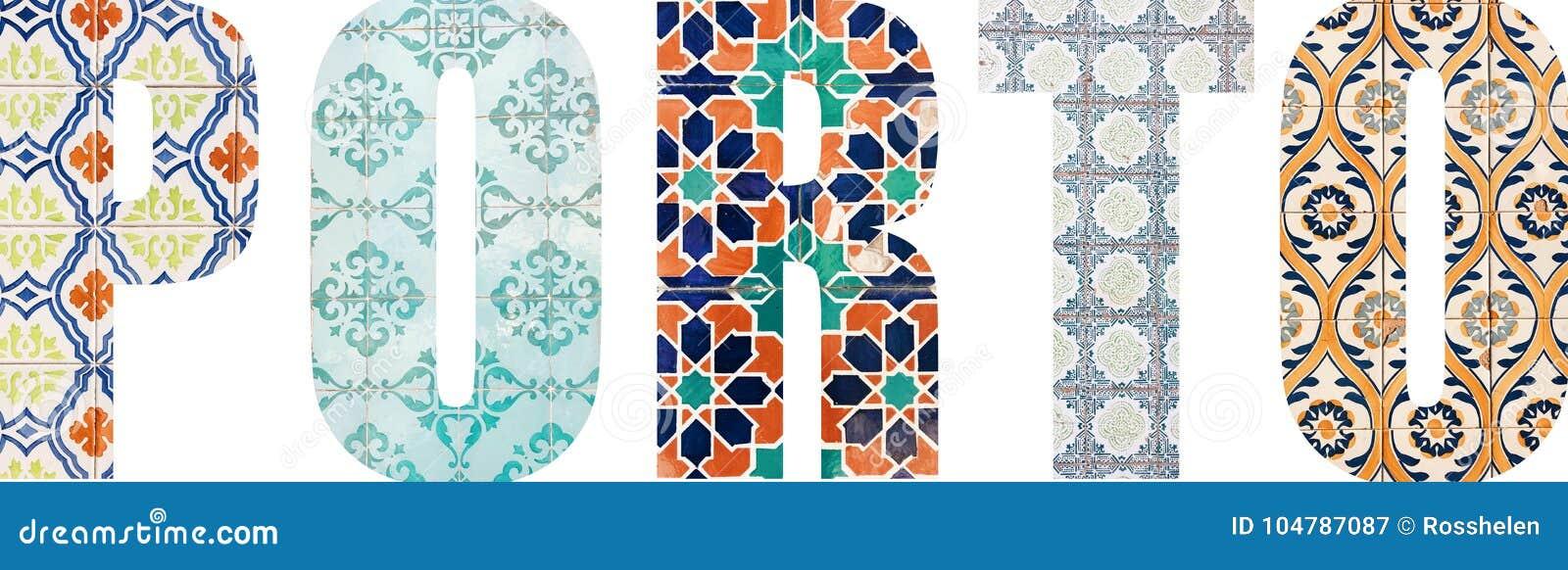 Lettere di Oporto riempite di mattonelle portoghesi